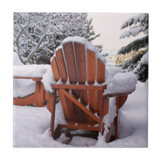Snowy Adirondack Chairs in Winter Photo Tile