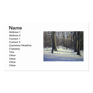 Snowy Afternoon Oil Landscape Painting Business Card Template