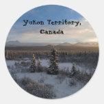 Snowy Afternoon; Yukon Territory, Canada Classic Round Sticker
