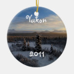 Snowy Afternoon; Yukon Territory Souvenir Double-Sided Ceramic Round Christmas Ornament