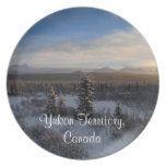 Snowy Afternoon; Yukon Territory Souvenir Party Plate