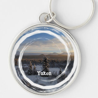 Snowy Afternoon; Yukon Territory Souvenir Silver-Colored Round Keychain