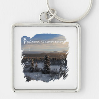 Snowy Afternoon; Yukon Territory Souvenir Silver-Colored Square Keychain