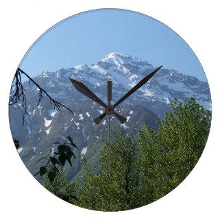 Snowy Alaskan Mountain Wall Clock