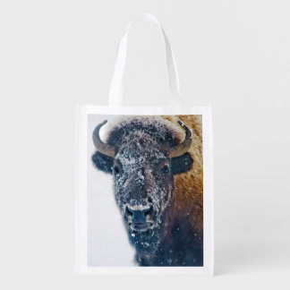 Snowy American Bison at Yellowstone NP Market Tote