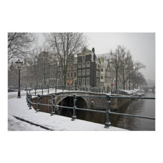 Snowy Amsterdam in the Netherlands in winter Poster