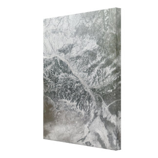 Snowy and hazy central Russia showing the Ob Ri Canvas Print