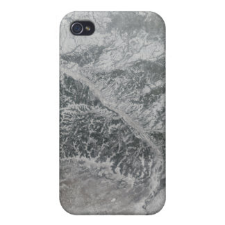 Snowy and hazy central Russia showing the Ob Ri iPhone 4 Case