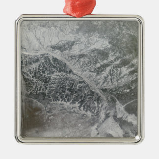Snowy and hazy central Russia showing the Ob Ri Metal Ornament