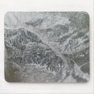 Snowy and hazy central Russia showing the Ob Ri Mouse Pad