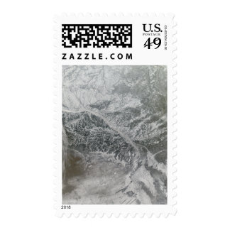 Snowy and hazy central Russia showing the Ob Ri Postage Stamp