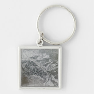 Snowy and hazy central Russia showing the Ob Ri Silver-Colored Square Keychain