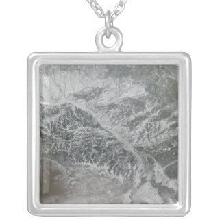 Snowy and hazy central Russia showing the Ob Ri Square Pendant Necklace