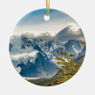 Snowy Andes Mountains, El Chalten Argentina Ceramic Ornament
