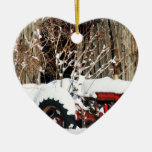 Snowy Antique Tractor Double-Sided Heart Ceramic Christmas Ornament