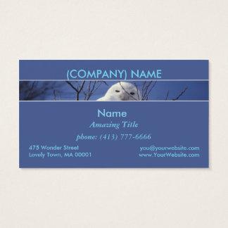 Snowy Arctic Owl, White Bird, Sapphire Blue Sky Business Card