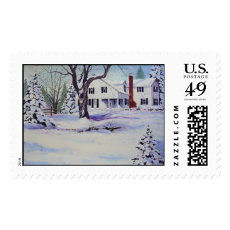 Snowy Back Yard- stamps