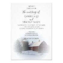 Snowy Barn and Silo Winter Country Wedding Invitation