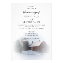 Snowy Barn and Silo Winter Country Wedding Invitation