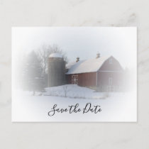 Snowy Barn and Silo Winter Wedding Save the Date Announcement Postcard