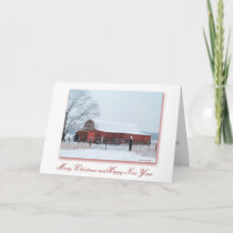Snowy Barn Christmas 2 Holiday Card