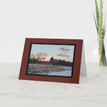 Snowy Barn Happy Holidays Card