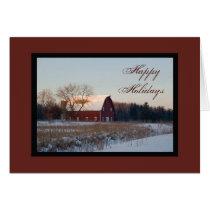 Snowy Barn Happy Holidays Card