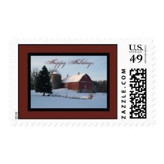 Snowy Barn Happy Holidays Postage Stamp