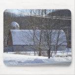 snowy barn mouse pad
