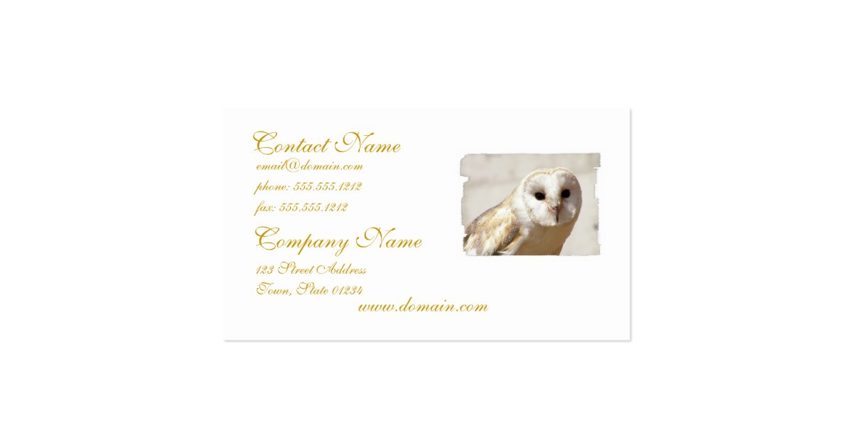 Snowy barn owl business cards zazzle for Owl business cards