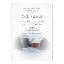 Snowy Barn Silo Winter Wedding Rehearsal Dinner Invitation