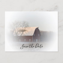 Snowy Barn Winter Country Wedding Save the Date Announcement Postcard