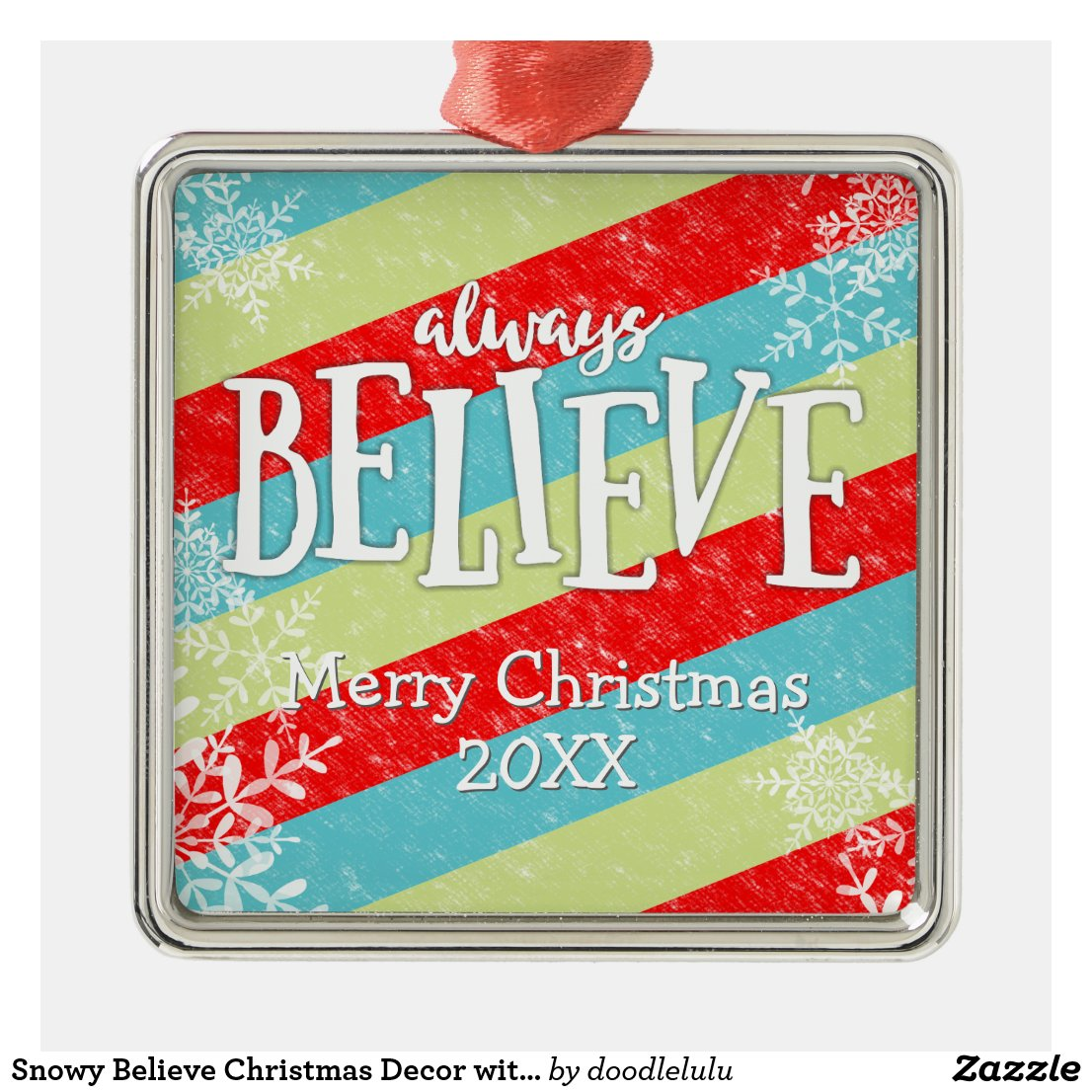 Snowy Believe Christmas Decor with Snowflakes Metal Ornament