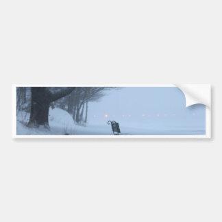 Snowy Bench Bumper Stickers