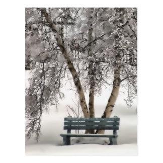 Snowy Bench Postcard