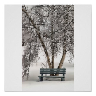 Snowy Bench Poster/Print