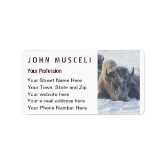 Snowy Bison Customizable Business suite Label