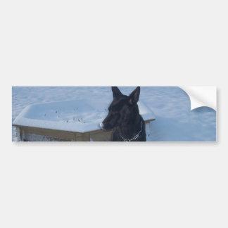 Snowy Black German Shepherd Car Bumper Sticker