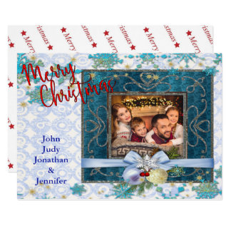 Snowy Blue Christmas Picture Frame Card