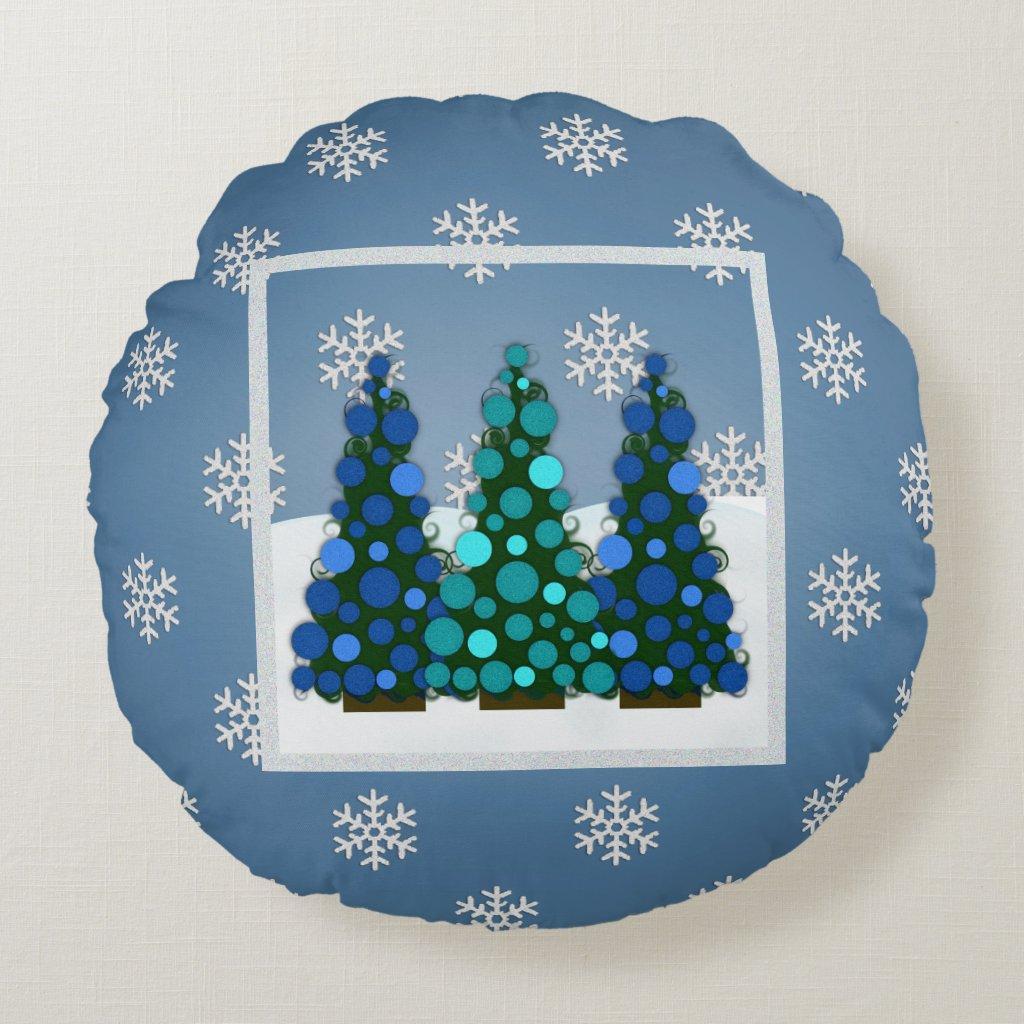 Snowy Blue Christmas Tree Round Pillow