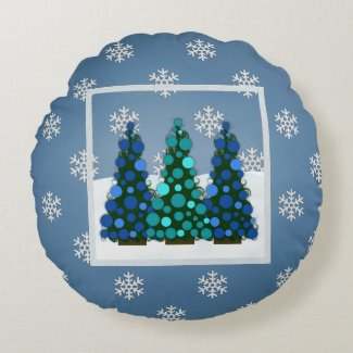 Snowy Blue Christmas Tree Round Pillow
