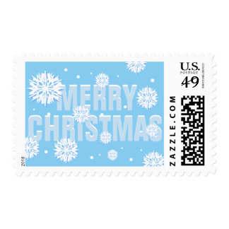 Snowy Blue Merry Christmas Postage Stamp