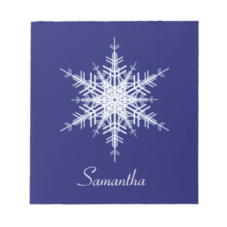 Snowy Blue Snowflake Notepad