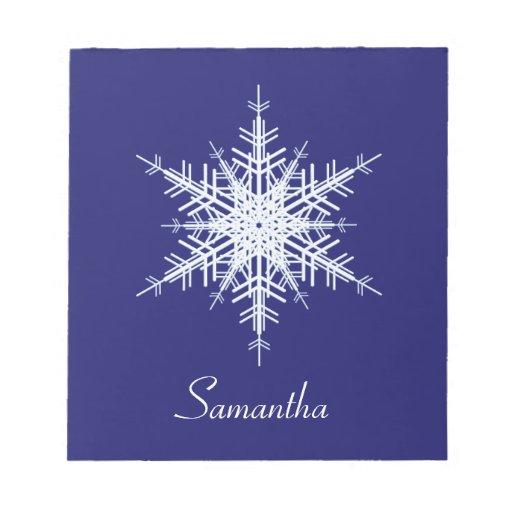 Snowy Blue Snowflake Notepad
