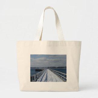 Snowy Boardwalk Jumbo Tote Bag