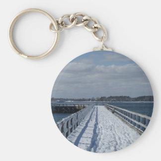 Snowy Boardwalk Keychain