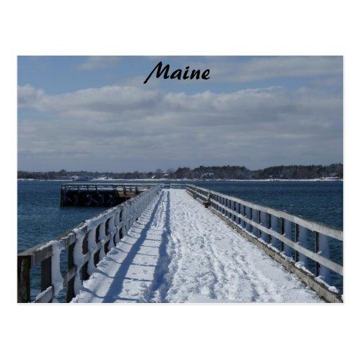 Snowy Boardwalk Postcard