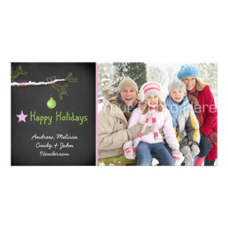 Snowy Branch, Chalkboard Photo Card