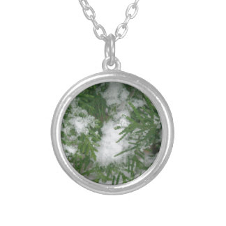 Snowy Branches 1 Round Pendant Necklace