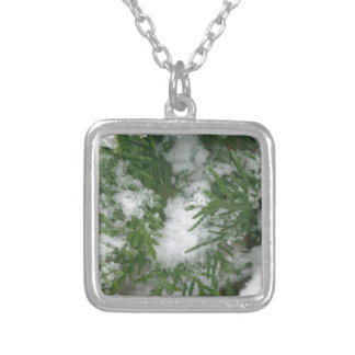 Snowy Branches 1 Square Pendant Necklace